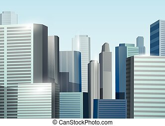 cityscape, vektor, napkelte, ábra, részvény