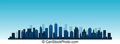cityscape, vektor, stadt skyline, an, tag