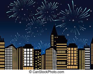 cityscape, vektor, tűzijáték