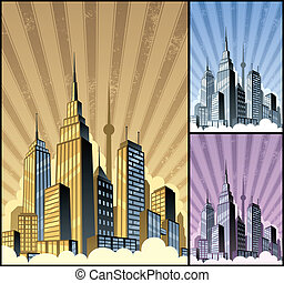 Cityscape Vertical - Cartoon city in 3 color variations. ...