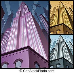 Cityscape Vertical - Cartoon city in 3 color variations....