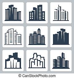 cityscape, vetorial, jogo, ícones