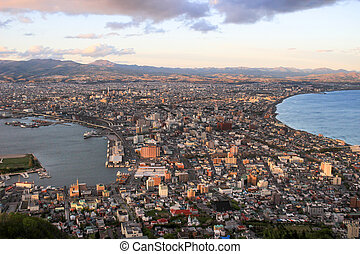cityscape view from Mt. Hakodate at evening, Hokkaido, Japan