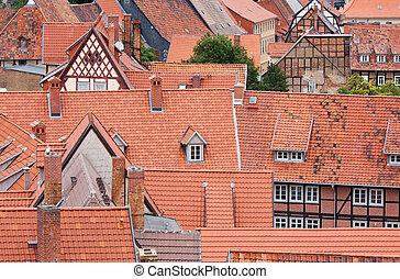 cityscape, ville, allemagne, moyen-âge, quedlinburg