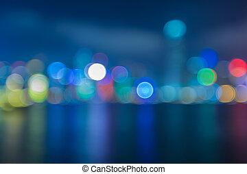 cityscape, ville, bokeh, brouillé, lumières