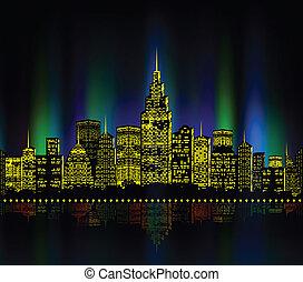 cityscape, ville, coloré, lumières