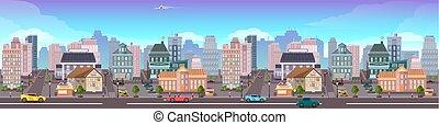 cityscape, ville, panama, gratte-ciel, vue