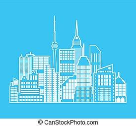 cityscape, ville, vue., moderne