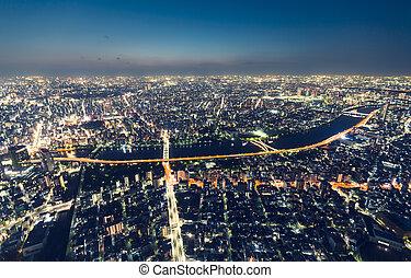 cityscape, vista, aéreo, noche