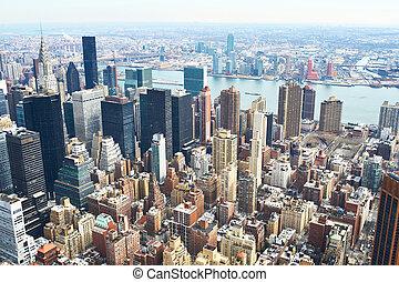cityscape, vista, de, manhattan, de, edificio del estado del...