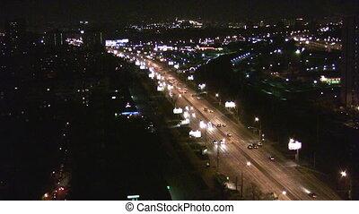 cityscape, voitures, nuit