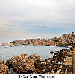 cityscape, von, altes , gaeta, stadt, in, sommer, italien
