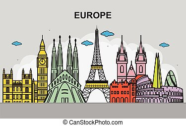 cityscape, voyage, ville, europe, horizon, illustration