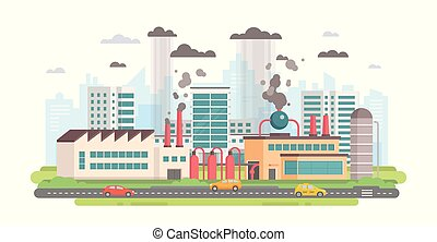 Cityscape with a factory - modern flat design style vector illustration