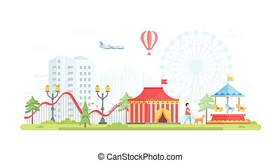 Cityscape with attractions - modern flat design style vector illustration
