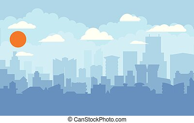 Cityscape with blue sky, white clouds and sun. Modern city skyline flat panoramic background. Flat and solid color style vector illustration.