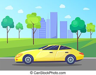 Cityscape with Car on Road, Skyline of City Center