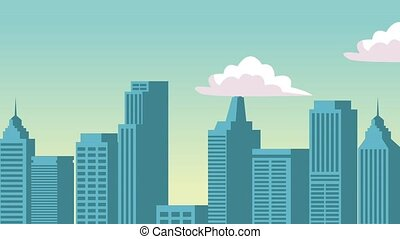 Cityscape with clouds passing HD animation - Cityscape with...