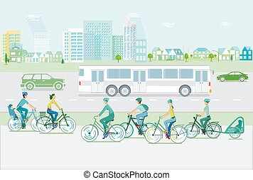 Cityscape with cyclists and road traffic-.eps