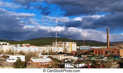 Cityscape with dramatic sky
