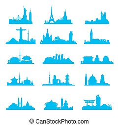 Cityscape with famous attractions silhouette set
