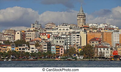 cityscape with Galata Tower over the Golden Horn in Istanbul, Turkey.
