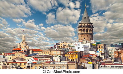 cityscape with Galata Tower over the Golden Horn in...