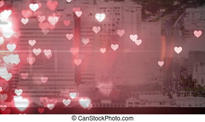 Cityscape with hearts
