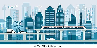 Cityscape with Infrastructure and Transportation - Smart...