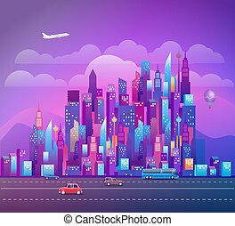 Cityscape with modern skyscrapers and vehicles