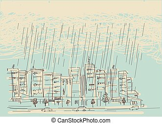 Cityscape with rain. Vector hand drawn dark clouds in wet day