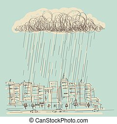 Cityscape with rain.Vector hand drawn dark cloud in wet day