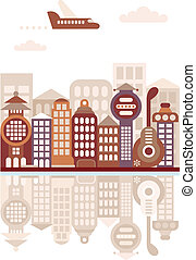 Cityscape with reflection vector illustration