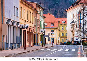 Cityscape with road of Celje old town in Slovenia