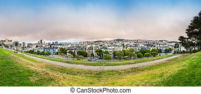 Cityscape with skyline panorama in San Francisco USA