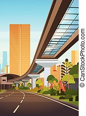 Cityscape With Skyscrapers And Railway Road Modern City View