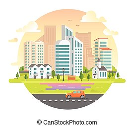 Cityscape with skyscrapers in a round frame - modern vector illustration