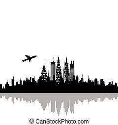 Cityscape with skyscrapers - Plane flying over urban city ...
