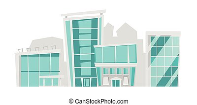 Cityscape with skyscrapers vector illustration.