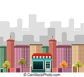 cityscape with social marketing icons