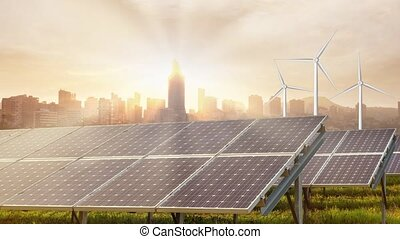 Alternative renewable resources of energy for big cities solar panels and wind turbines on the background of sunny landscape with skyscrapers and big houses. 4K UHD video 3840, 2160p.
