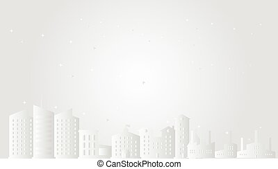 Cityscape with stars paper art style vector illustration.City in white scene.Christmas town concept.