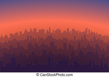 Cityscape with sunrise or sunset background. Horizontal morning or evening landscape of modern city. Vector abstract illustration silhouettes of city buildings