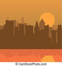 Cityscape with sunset and river flat color design.