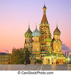 St. Basil Cathedral - Cityscape with the image of night St....