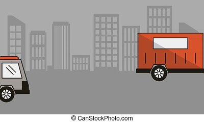 cityscape with truck delivery service animation