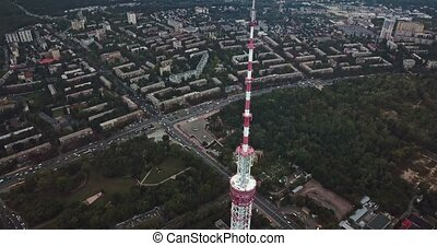 Cityscape with TV tower - Panoramic green cityscape with the...
