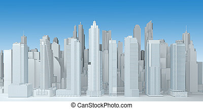 cityscape with white wireframe skycrapers. 3d rendering