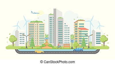 Cityscape with windmills - modern flat design style vector illustration