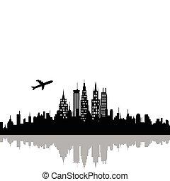 cityscape, wolkenkrabbers